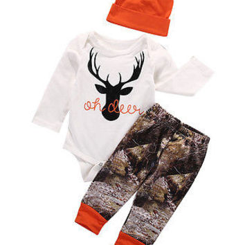2016 Autumn  baby boy clothing sets Newborn Baby Boy Girl Deer Romper Pants Leggings Hat 3pcs Outfits Set Costume
