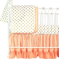 Coral Sunset, Papaya and Gold Dots Ruffle Baby Bedding | Coral Shades and Gold Dots Crib Bedding Set