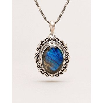 Vintage Labradorite Silver Pendant - One of a Kind