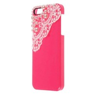 eFuture(TM) Hand Made Lace and Pearl Hot Pink Hard Case Cover fit for the new Iphone5 5G +eFuture's nice Keyring