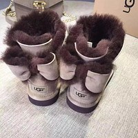 UGG Fashion Winter Women Bowknot Flat Warm Snow Ankle Boots Tagre™
