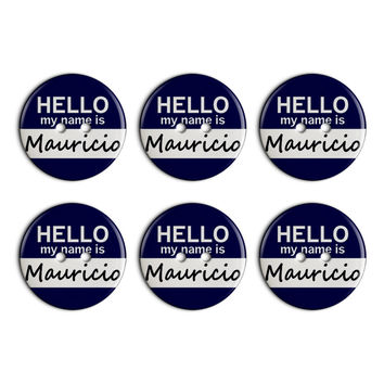 Mauricio Hello My Name Is Plastic Resin Button Set of 6