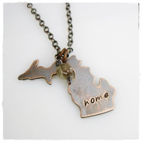 Antiqued Copper Michigan Necklace with Petoskey Stone / Stamped Home Necklace