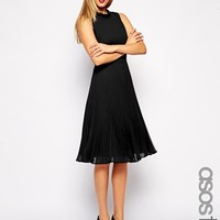 ASOS TALL Midi Pleated Skater With Funnel Neck at asos.com