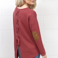 Lace Up Back + Suede Elbow Patch Sweater {Brick} EXTENDED SIZES