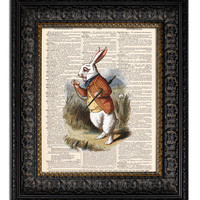 ALICE IN WONDERLAND WHITE RABBIT Dictionary Art Print