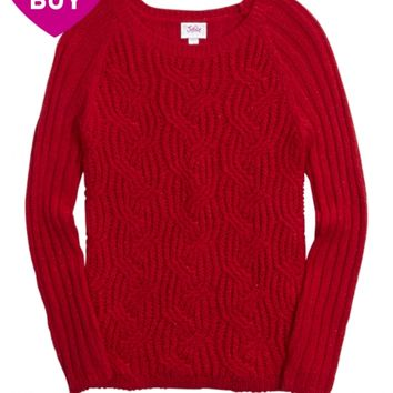 SOLID CABLE KNIT SADIE SWEATER   GIRLS CLOTHES NEW ARRIVALS   SHOP JUSTICE