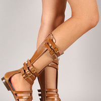 Couture-1 Strappy Gladiator Mid Calf Flat Sandal