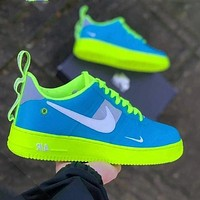 Onewel Nike Air Force Low AF1 Skate shoes Women men Blue Face With Fluorescent green Soles
