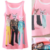 Pink Cat Printed Sleeveless Pink Summer Tank
