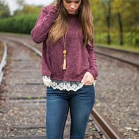 Ruffle You Up Sweater, Burgundy