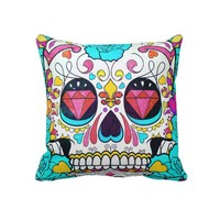 Hipster Sugar Skull and Teal Blue Floral Roses Throw Pillow from Zazzle.com