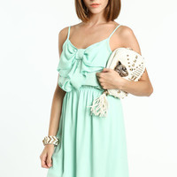 MINT CHIFFON BOW DRESS