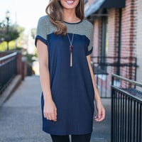 No Yoking Matter Top, Navy-Green