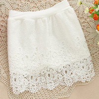 Elastic High Waist Crochet Lace Mini Skirt