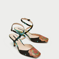 EMBROIDERED KITTEN HEEL SLINGBACK SHOES DETAILS