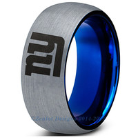 8mm New York Giants Brushed Silver Blue Dome Cut Ring