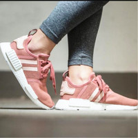 Adidas NMD Runner pink and white couples running shoes pink