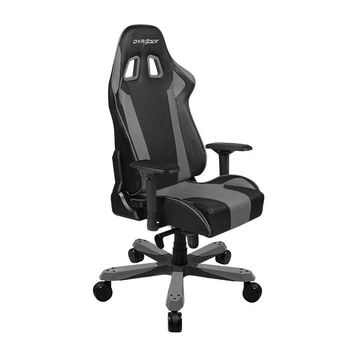 DXRacer-Black & Gray-Commercial Big & Tall Executive Chair-Leather High-Back Adjustable Chair-Home Deluxe Office chair-KS06NG