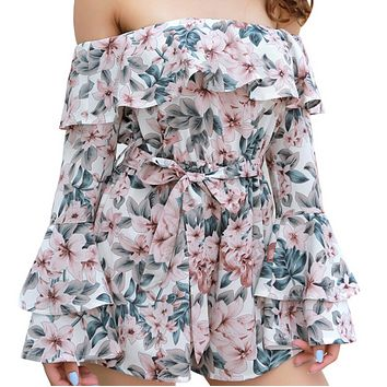 Women's hot sale one-line neck floral long-sleeved flared sleeves belted jumpsuit