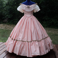 Civil War Ball Gown, Custom Historical Southern Belle Dress, Moire, Lace Collar, Made To Measurements, Choose Color, Victorian Wedding Dress
