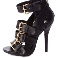 Buckled & Belted Strappy High Heels by Charlotte Russe