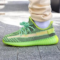 Hipgirls Adidas Trending Yeezy Boost 350 V2 Fresh Color Sports Sneakers Fashion running shoes Fluorescent green