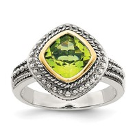 Sterling Silver w/ 14k Gold Accents 8mm Cushion Cut Peridot Ring