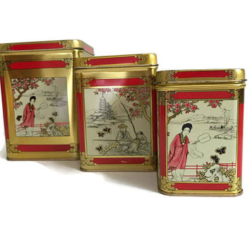 Vintage Nesting Tin Boxes Metal Tins Asian Design Red Gold Set of Three Tin Canisters Tea Tin Asian Home Decor Chinoiserie Storage Container