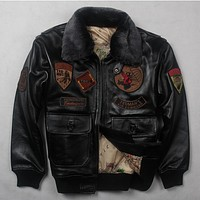 Men's real leather jacket air force jackets Motorcycle Genuine Leather Aviator jacket men cow leather coat bomber jacket