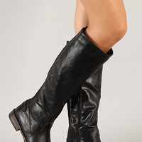 Elastic Back Round Toe Riding Knee High Boot