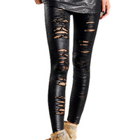 Black Ripped Faux Leather Leggings