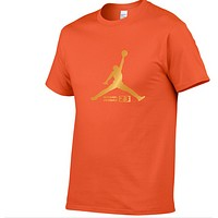 Jordan New fashion bust letter print couple top t-shirt Orange