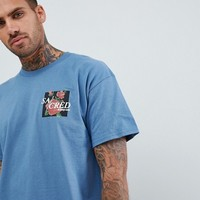 boohooMAN oversized t-shirt with scared rose print in blue at asos.com