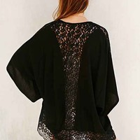 Pins And Needles Lace-Inset Crinkle Kimono Jacket-