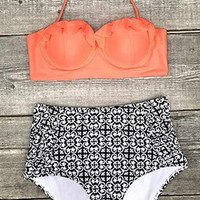 Cupshe Hit Refresh Halter High-waisted Bikini Set