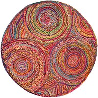 Safavieh Cape Cod Red/Multi 3 ft. x 3 ft. Round Area Rug-CAP203A-3R - The Home Depot