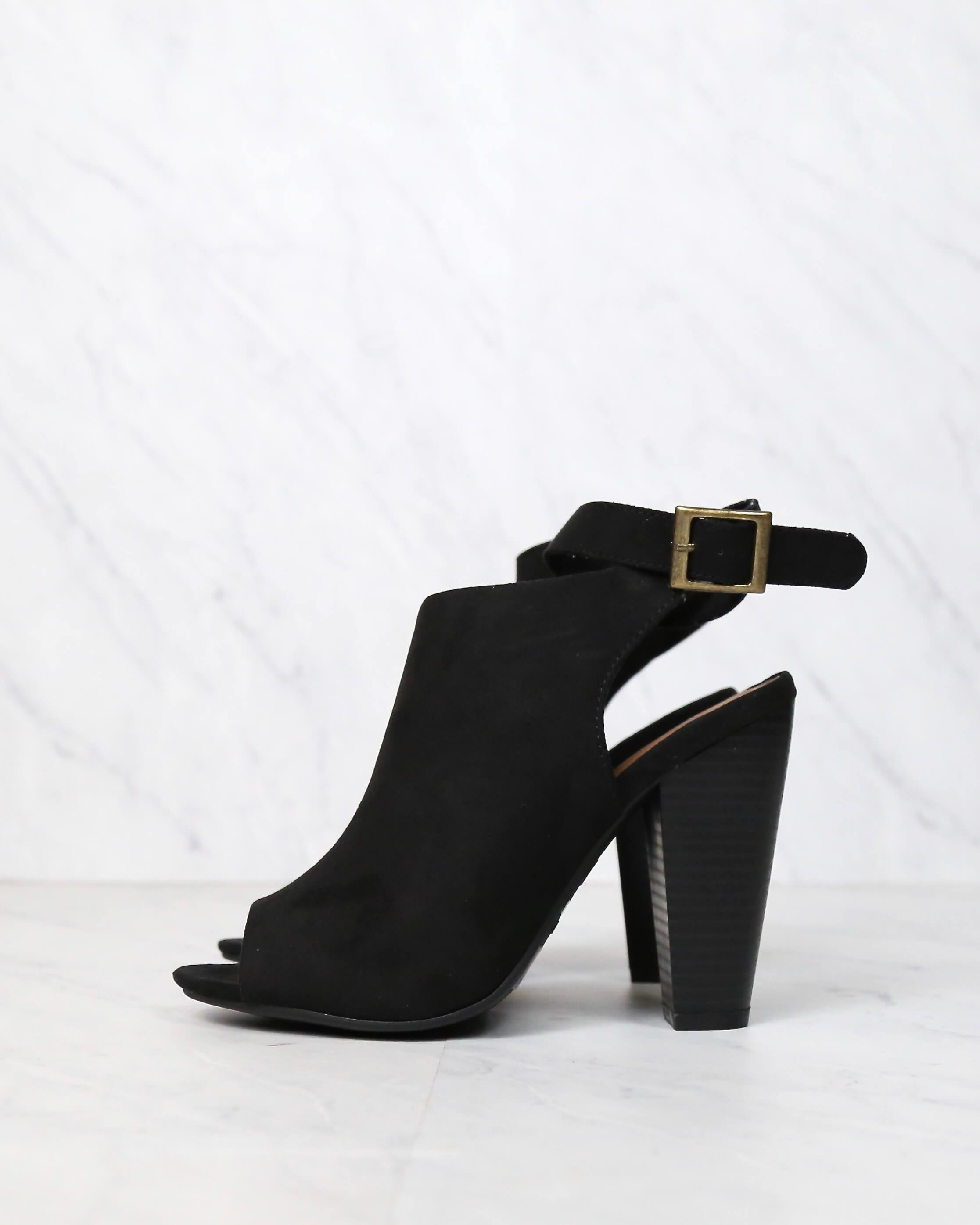 Image of Vegan Suede Wrap Around Ankle Peep Toe Booties in More Colors