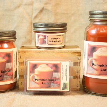 Pumpkin Spice Latte Scent Candles and Wax Melts, Beverage Scent Candle Wax, Highly Scented Candles and Wax Tarts, Coffee Candle for Fall