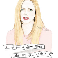 Karen Smith from Mean Girls watercolour portrait by ohgoshCindy