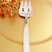 Thankful serving fork,Hand Stamped Holiday Table Decoration-hostess gift idea