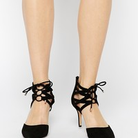 Dune Cristina Black Suede Pointed Two Part Shoes