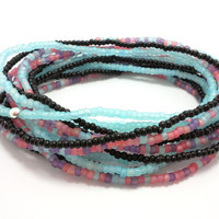 Seed bead wrap stretch bracelets, stacking, beaded, boho anklet, bohemian, stretchy stackable multi strand, frosted blue pink purple black