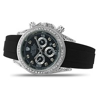 Rolex fashion inlaid diamond dial men's and women's casual business leather strap watch