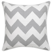 GREY AND NATURAL ZIG ZAG POP THROW PILLOW