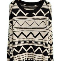 Black Beige Long Sleeve Geometric Print Pullovers Sweater S0