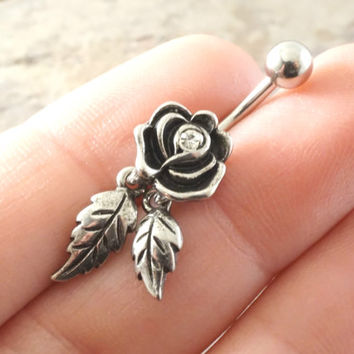 Rose Flower Belly Button Jewelry Ring with Dangling Leaves