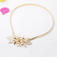 Fashion Women Lady Gold Metal Chain Belt Flower Embellishment Elastic Waist Strap Belt All-Match Cummerbund Gold (Color: Gold) = 1958436676
