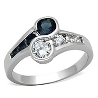 Middle Finger Ring 3W494 Rhodium Brass Ring with Synthetic in Sapphire