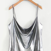 Draped Metallic Cami TopFor Women-romwe